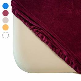 Zen Frottee Spannbezug für Massage-Liegen | passend für 71-81 cm x 185-195 cm | extra weich | waschbar 60° | OEKO TEX 100 | für alle gängigen Kosmetik-Tische und Therapie-Bänke (Burgund) - 1