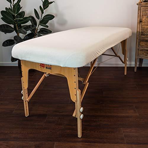 Massageliege Zen Frottee Spannbezug für Massage-Liegen | passend für 71-81 cm x 185-195 cm | extra weich | waschbar 60° | OEKO TEX 100 | für alle gängigen Kosmetik-Tische und Therapie-Bänke (Créme) - 2
