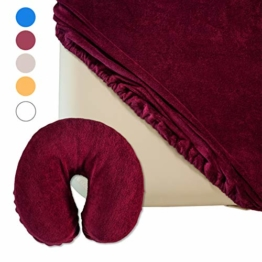 Zen Spannbezug-Set für Massage-Liege und Kopfstütze | flauschiger Frottee | extra-pflegeleicht und waschbar 60° | OEKO TEX 100 | für alle gängigen Kosmetik-Tische und Therapie-Bänke (Burgund) - 1